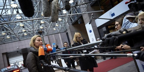 Federica Morgherini at the EU foreign affairs ministers' meeting in Brussels for an extraordinary session to discuss the situation in Ukraine on January 29, 2015 / Flickr / European External Action Service / CC BY-NC-ND 2.0
