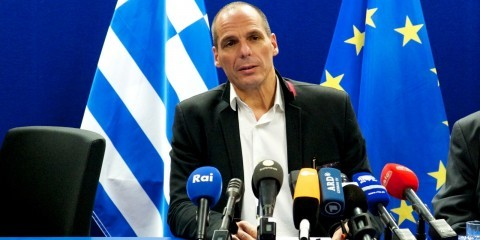 Yanis Varoufakis, Greek Minister for Finance, at the press conference after the Extraordinary Eurogroup meeting in Brussels on February 20, 2015 / tvnewsroom.consilium.europa.eu/