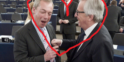 Twittersphere about EU: Duncan Robinson @duncanrobinson on April 30, 2015: Hearts for Juncker and Farage at European Parliament