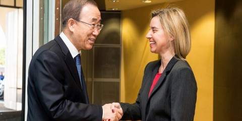 Ban Ki-Moon, on the left, was received by Frederica Mogherini in Brussels on May 27, 2015 / ec.europa.eu