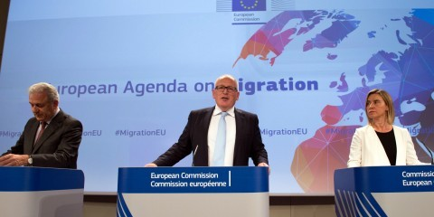 Press conference by Frans Timmermans, Federica Mogherini and Dimitris Avramopoulos on Adoption of the Euopean Agenda on Migration on May 13. 2015 / ec.europa.eu