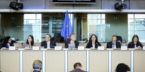 MEPs Tokia Saifi (EPP) and Bernd Lange (S&D) in exchange of views on 'Investment protection in TTIP' with the EU Commissioner in charge of trade, Cecilia Malmström, in the European Parliament in Brussels on May 6, 2015 / European Union 2015 - EP