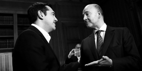 Pierre Moscovici and Alexis Tsipras before their meeting at Maximou hall in Athens on November 3, 2015 / ec.europa.eu