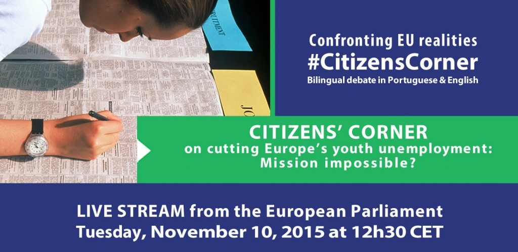 Citizens' Corner debate on cutting Europe's youth unemployment: Mission impossible?