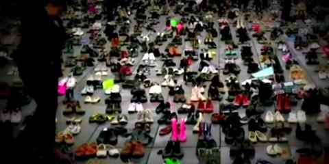 EUphoria December 3, 2015: 10,000 pairs of shoes were installed on the Place de la République in Paris / The Guardian