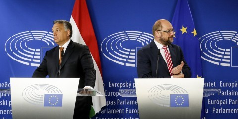 Viktor Orban and Martin Schulz in Brussels in September 2015 / European Union 2015 - EP