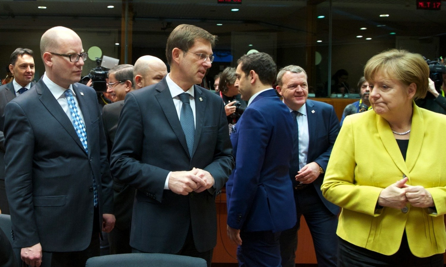 Bohuslav Sobotka, Miro Cera and Angela Merkel at European Council in Brussels on March 18, 2016 / tvnewsroom.consilium.europa.eu
