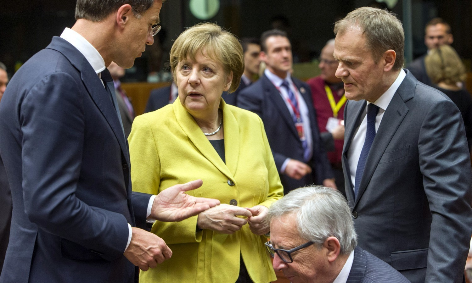 Rutte, Merkel, Tusk and Juncker at European Council in Brussels on March 18, 2016 / tvnewsroom.consilium.europa.eu
